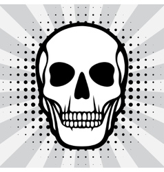 skull on pop art background vector image