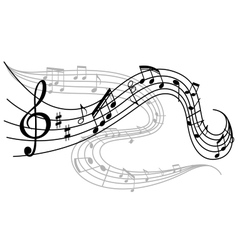 Waves of musical notes vector image