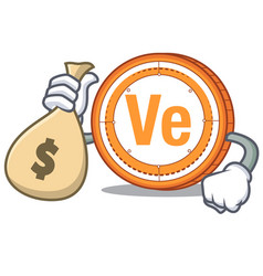with money bag veritaseum coin character cartoon vector image vector image