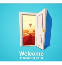 Beautiful world door vector