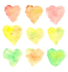 Watercolor heart shaped stains vector