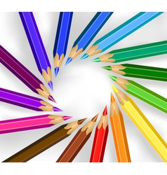 colored pencils in a circle vector image