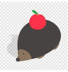 hedgehog with apple isometric icon vector image