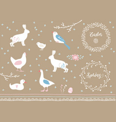 Set of white hand drawn easter and spring elements vector