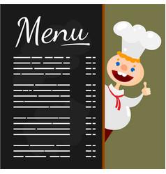 happy chef at menu blackboard vector image