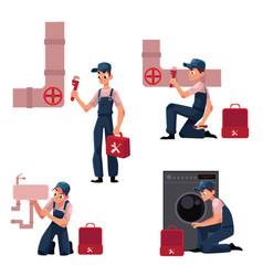 Plumbing specialist at work repairing sewage vector