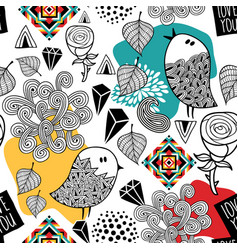 Endless pattern with doodle birds and abstract vector