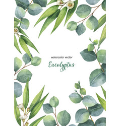 Watercolor green floral card with vector
