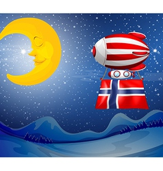 A floating balloon with the flag of norway vector