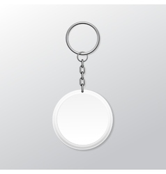 Blank round keychain with ring and chain for key vector