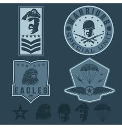 Special unit military emblem set design template vector