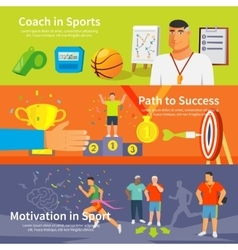 Coaching sport banner set vector
