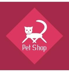 Flat cat sign for pet shop logo vector