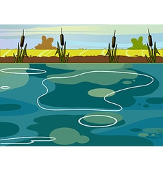 Summer lake view vector