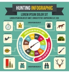 Hunting infographic elements flat style vector