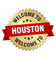 Houston 3d gold badge with red ribbon vector
