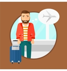 Man suffering from fear of flying vector
