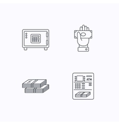 Give money cash money and atm icons vector