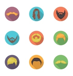 Beard set icons in flat style big collection of vector