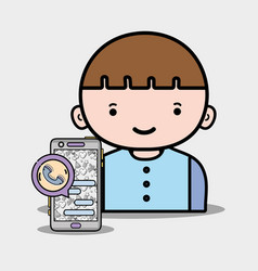 Boy with smaphone chat bubble message vector