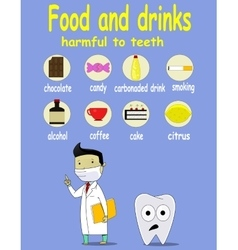 Cartoon infographic about food and drink damage vector