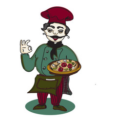 Chef pizza banner vector