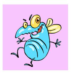 Dancing cute blue fly vector