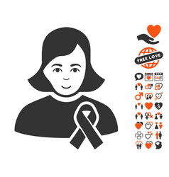girl with sympathy ribbon icon with dating bonus vector image vector image