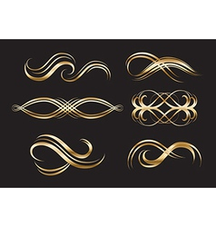 Gold decorative labels and swirls vector