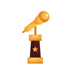 golden retro microphone music award statuette vector image vector image