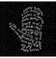 Hand-written phrase about winter vector image