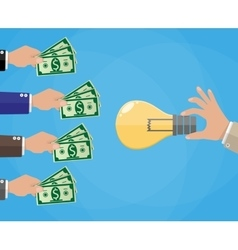 Hands with money and idea bulb crowdfunding vector