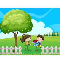Lovers dating at the hilltop vector image vector image