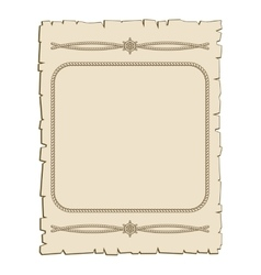 Nautical frame with ropes brown parchment vector image