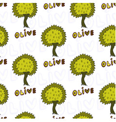 olives trees seamless pattern doodle background vector image