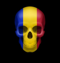 Romanian flag skull vector