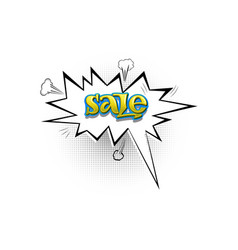 sale pop art splash cloud comic text speech vector image