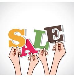 sale word in hand vector image vector image
