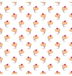 Seamless cupcakes pattern on white background vector image