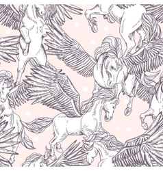 seamless pattern of white winged pegasus vector image