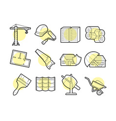 Set of building icons with lines vector