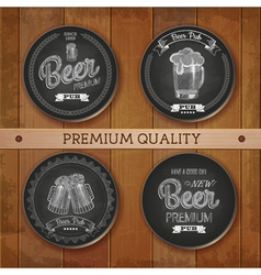 Set of chalk drawing labels with beer vector