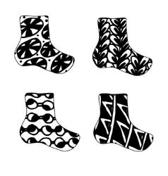Set of christmas sock icon in zentagle vector