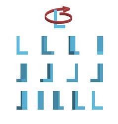 Sheet of sprites rotation of cartoon 3d letter l vector
