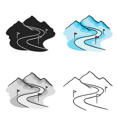 ski track icon in cartoon style isolated on white vector image vector image