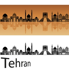 Tehran skyline in orange vector