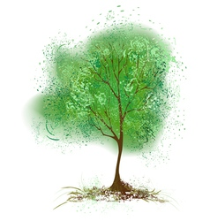 Tree with leaves painted with green paint vector