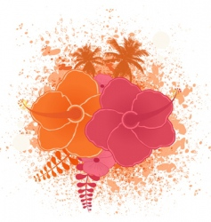 tropical flower grunge vector image