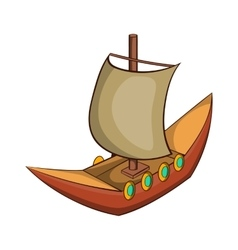 Viking ship icon cartoon style vector