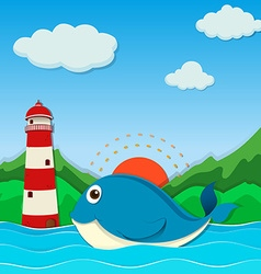 Whale swimming in the ocean vector image vector image
